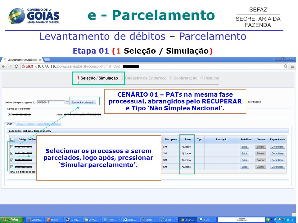 Etapa 01 (1 Seleção / Simulação)