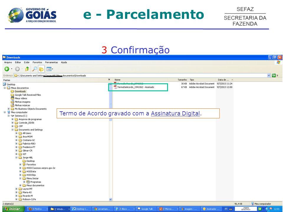 e - Parcelamento 3 Confirmação