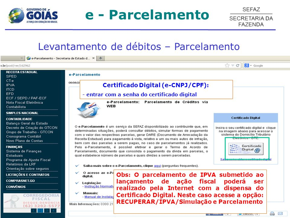 Certificado Digital (e-CNPJ/CPF):
