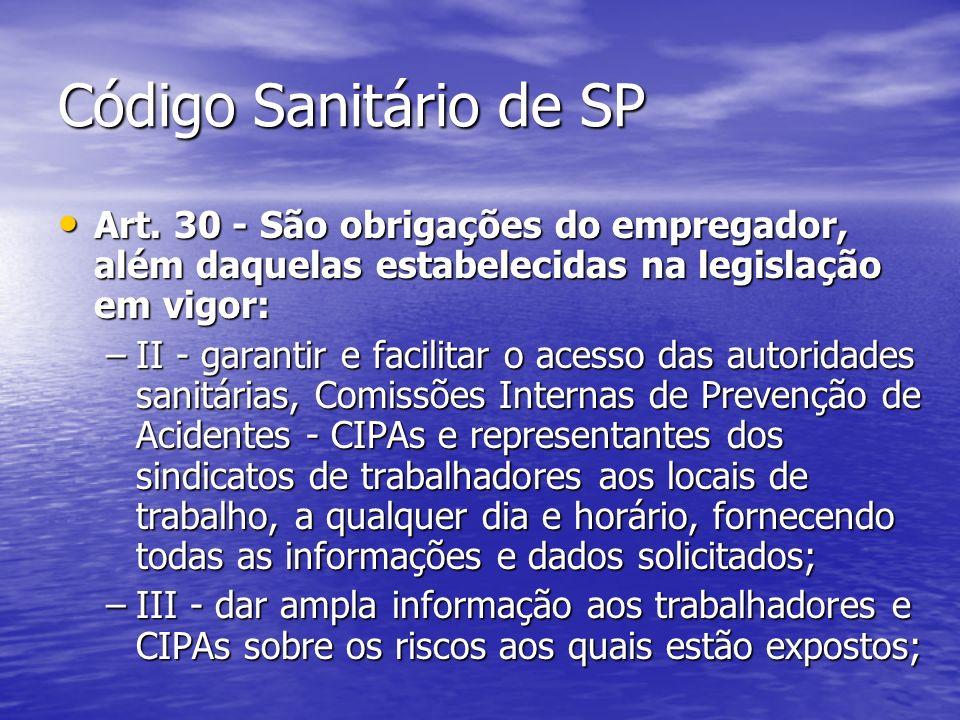 Código Sanitário de SP Art. 30 - São obrigações do empregador, além daquelas estabelecidas na legislação em vigor:
