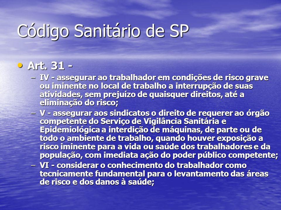 Código Sanitário de SP Art. 31 -