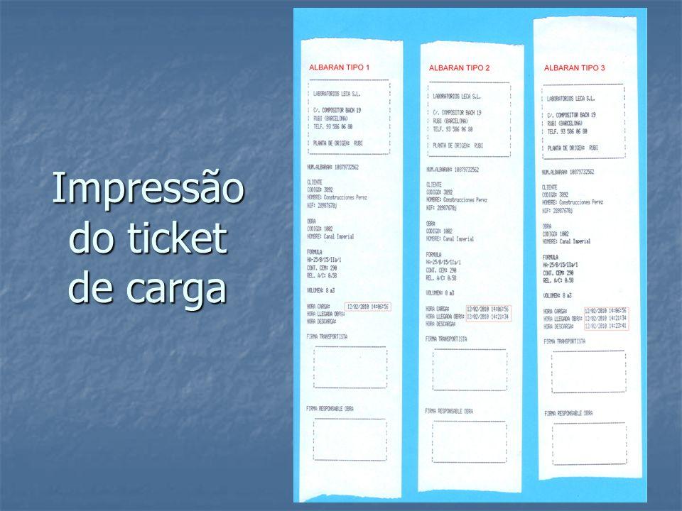 Impressão do ticket de carga
