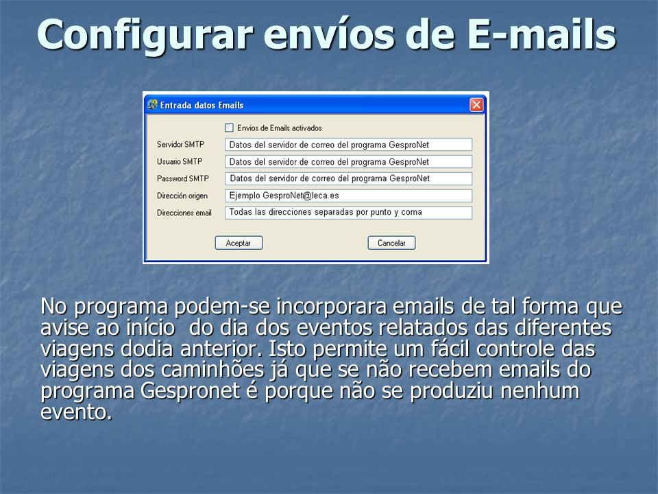 Configurar envíos de E-mails
