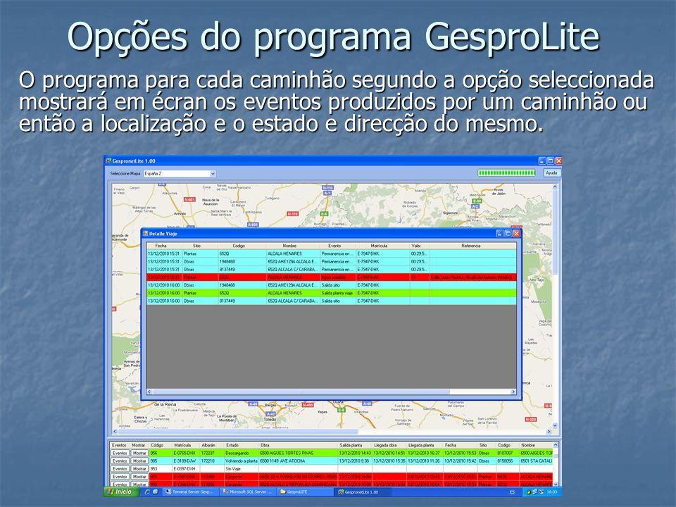 Opções do programa GesproLite