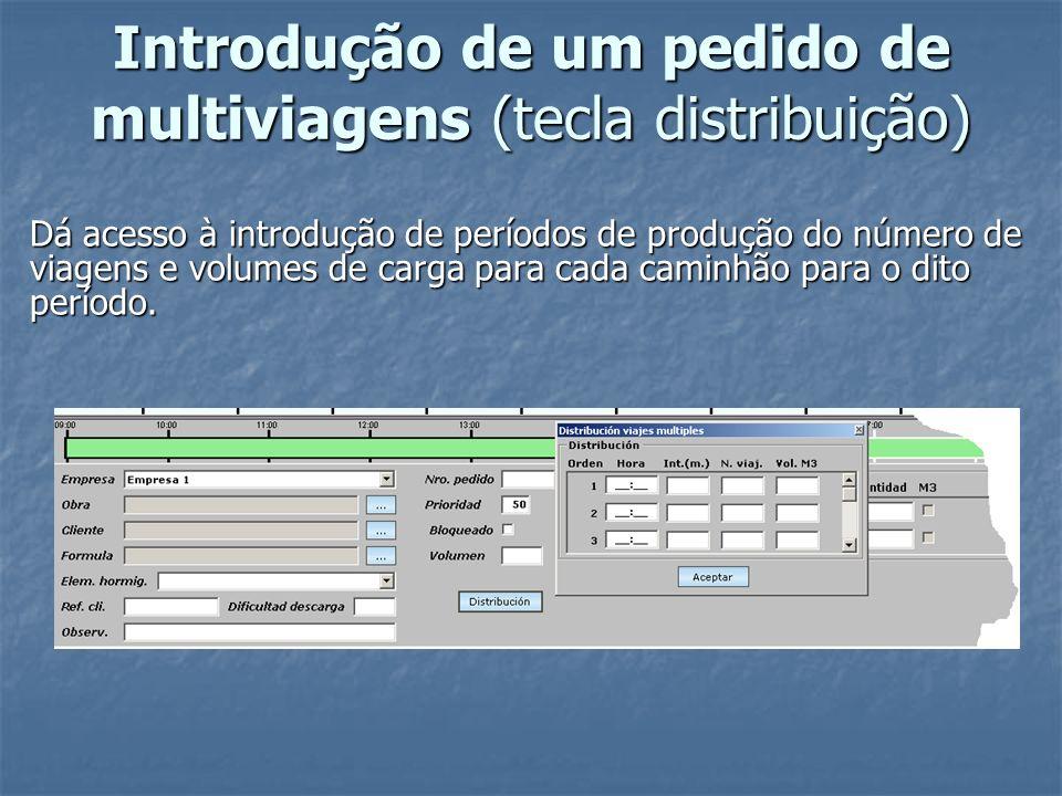 Introdução de um pedido de multiviagens (tecla distribuição)