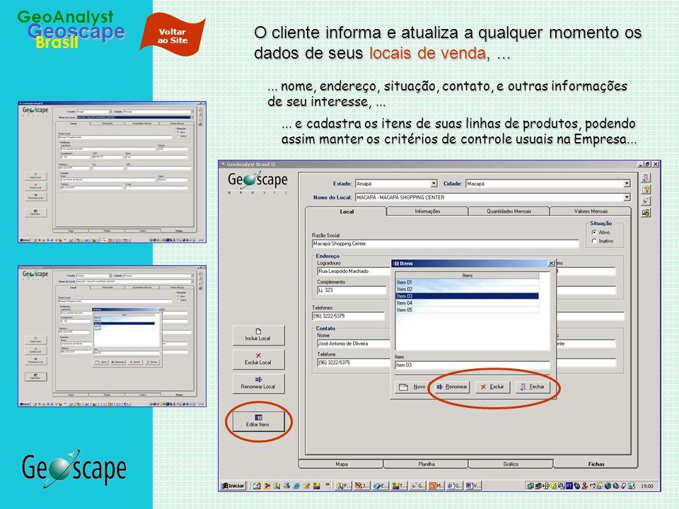 Voltar ao Site O cliente informa e atualiza a qualquer momento os dados de seus locais de venda, ...