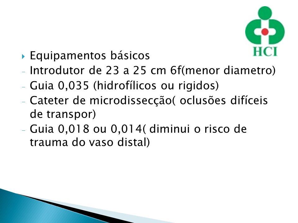 Equipamentos básicos Introdutor de 23 a 25 cm 6f(menor diametro) Guia 0,035 (hidrofílicos ou rigidos)