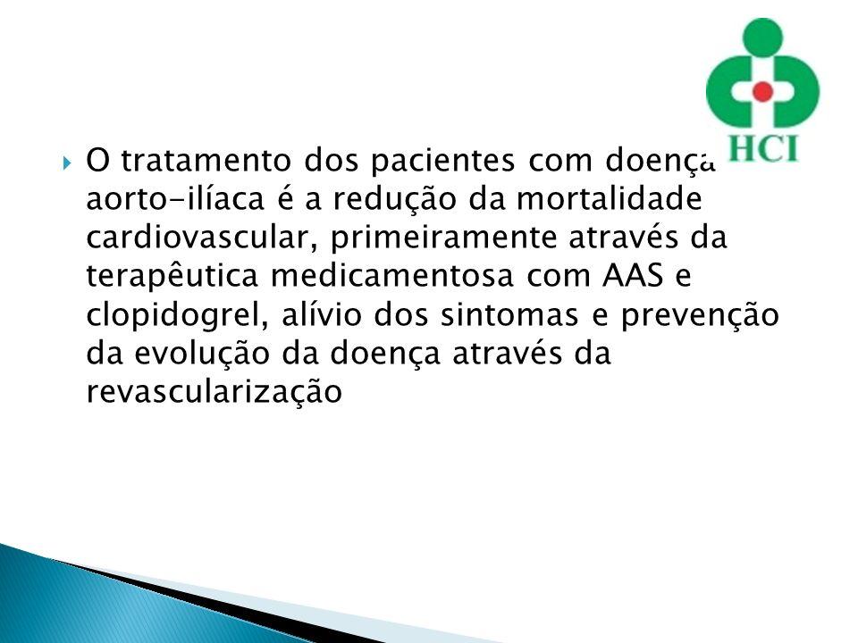 O tratamento dos pacientes com doença aorto-ilíaca é a redução da mortalidade cardiovascular, primeiramente através da terapêutica medicamentosa com AAS e clopidogrel, alívio dos sintomas e prevenção da evolução da doença através da revascularização