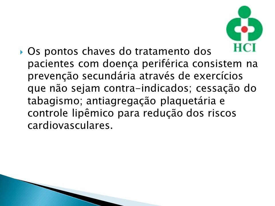 Os pontos chaves do tratamento dos pacientes com doença periférica consistem na prevenção secundária através de exercícios que não sejam contra-indicados; cessação do tabagismo; antiagregação plaquetária e controle lipêmico para redução dos riscos cardiovasculares.