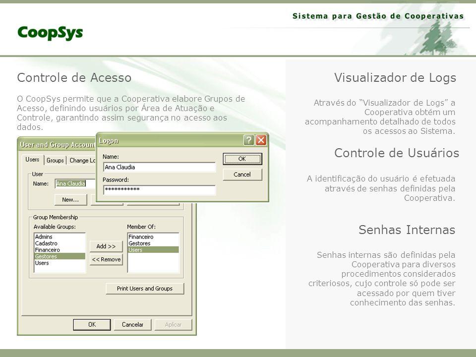 Controle de Acesso Visualizador de Logs Controle de Usuários