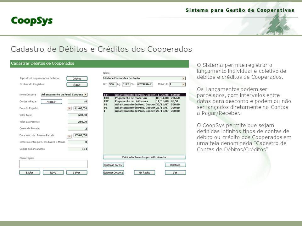 Cadastro de Débitos e Créditos dos Cooperados