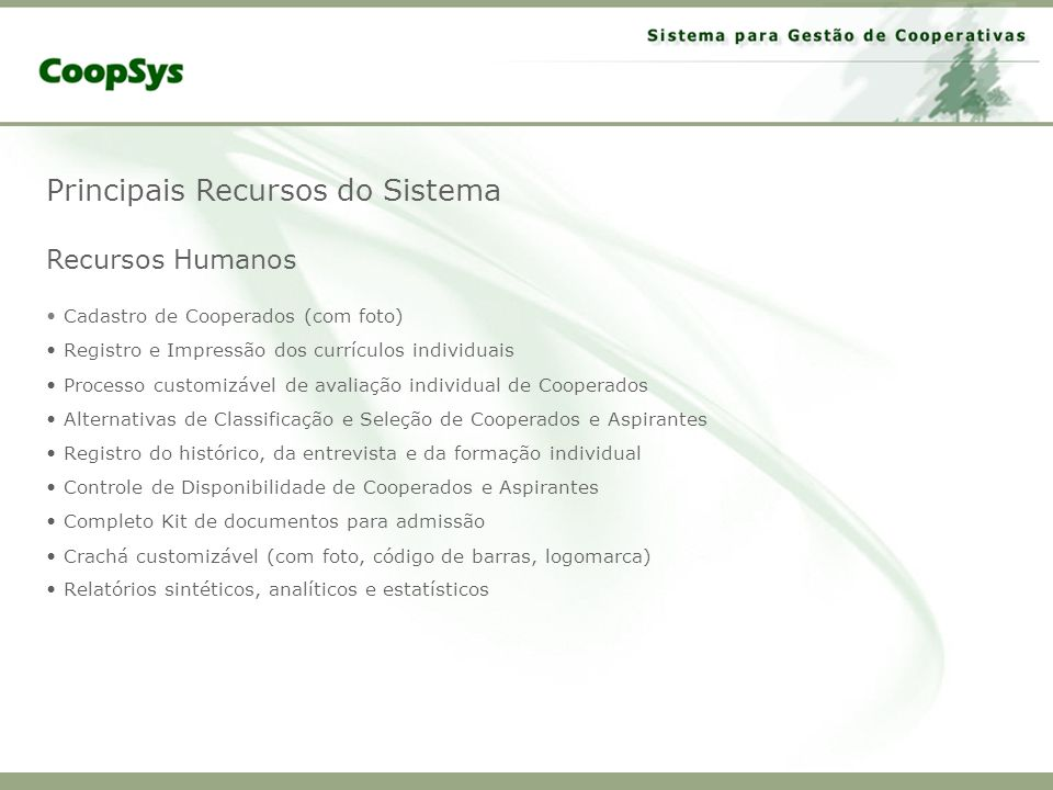 Principais Recursos do Sistema Recursos Humanos