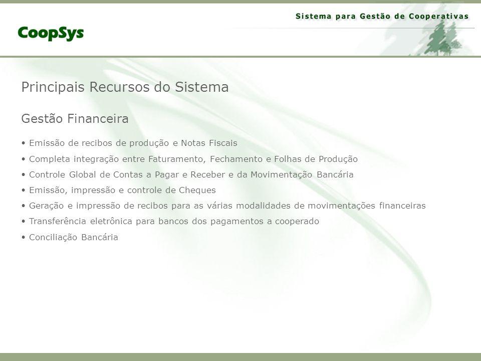 Principais Recursos do Sistema Gestão Financeira