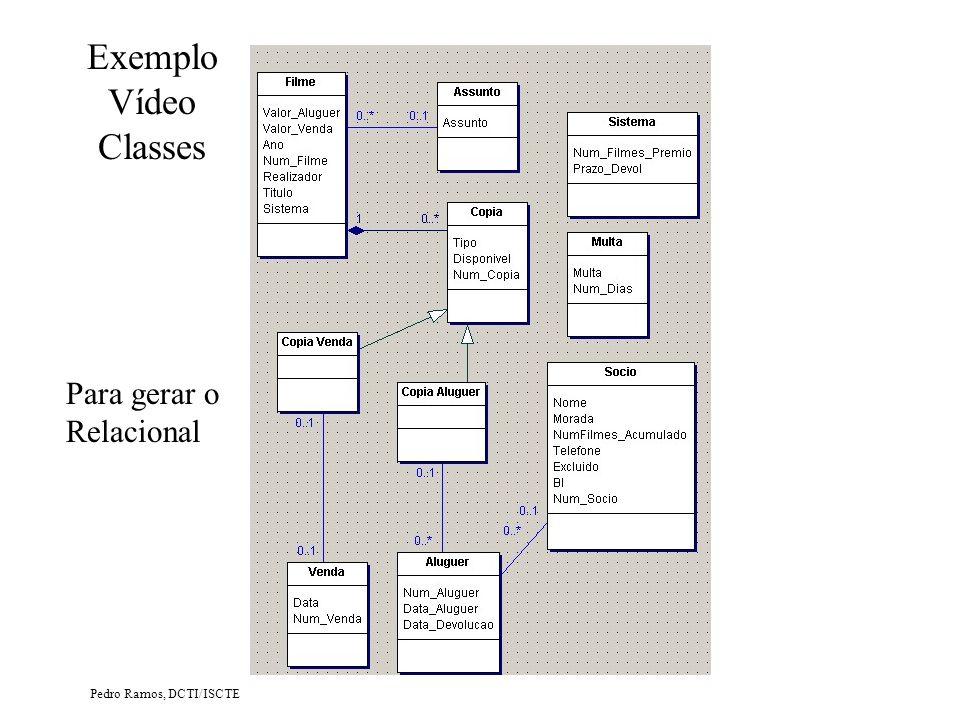 Exemplo Vídeo Classes Para gerar o Relacional Pedro Ramos, DCTI/ISCTE