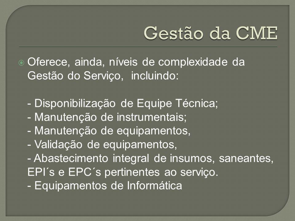 Gestão da CME Oferece, ainda, níveis de complexidade da Gestão do Serviço, incluindo: - Disponibilização de Equipe Técnica;