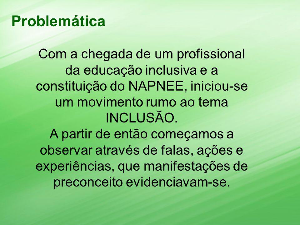 Problemática Com a chegada de um profissional da educação inclusiva e a constituição do NAPNEE, iniciou-se um movimento rumo ao tema INCLUSÃO.