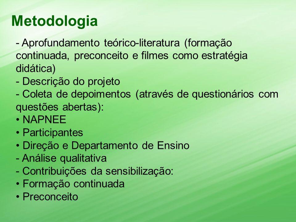 Metodologia - Aprofundamento teórico-literatura (formação continuada, preconceito e filmes como estratégia didática)