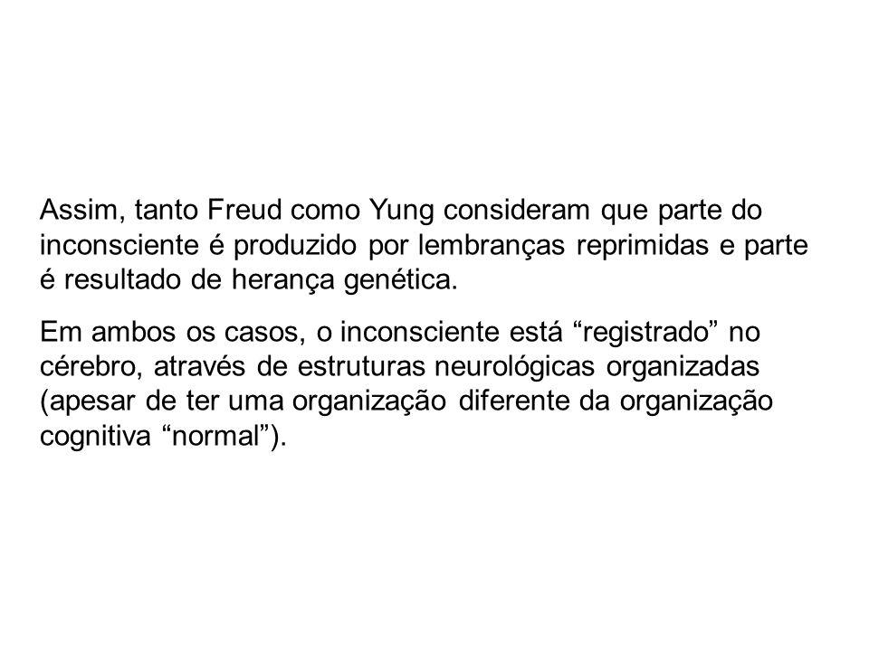 Assim, tanto Freud como Yung consideram que parte do inconsciente é produzido por lembranças reprimidas e parte é resultado de herança genética.