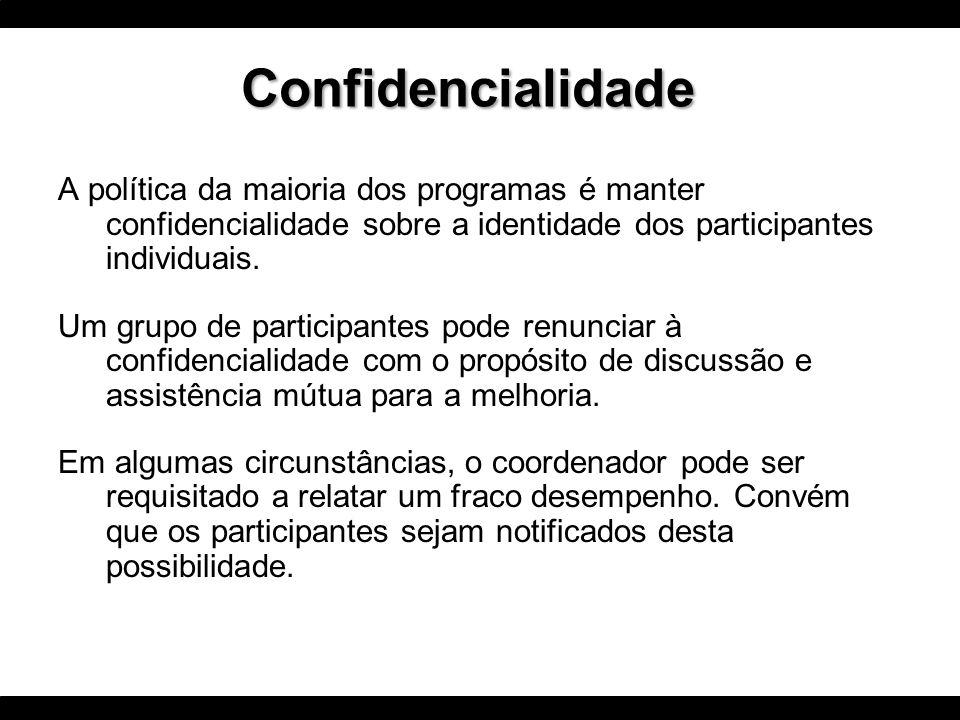 Confidencialidade A política da maioria dos programas é manter confidencialidade sobre a identidade dos participantes individuais.