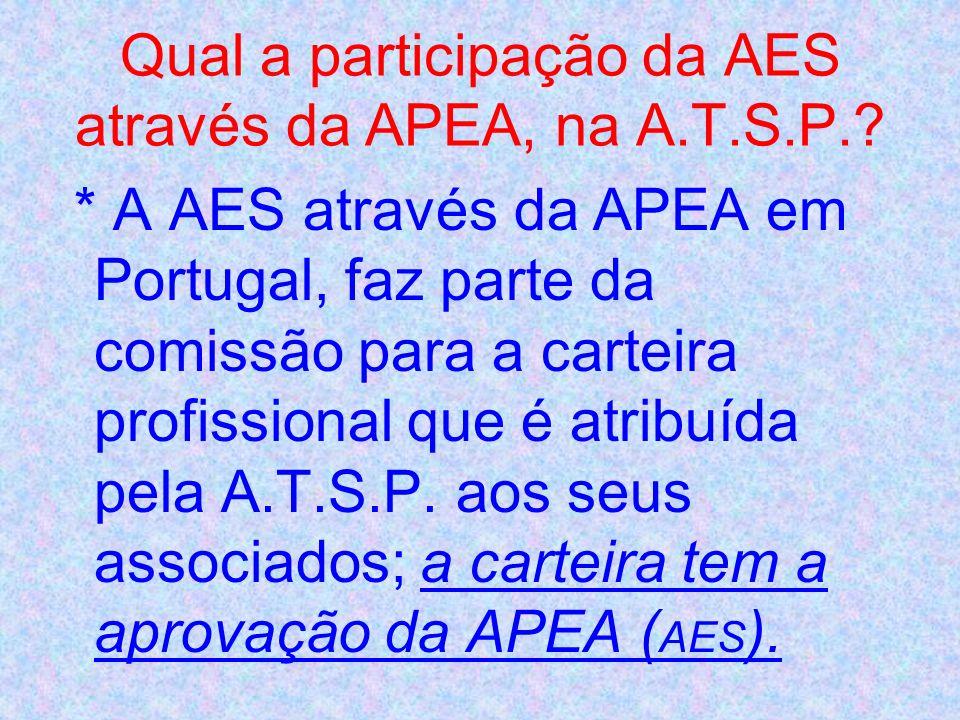Qual a participação da AES através da APEA, na A.T.S.P.