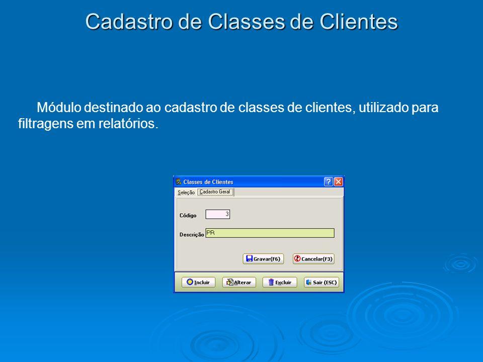 Cadastro de Classes de Clientes