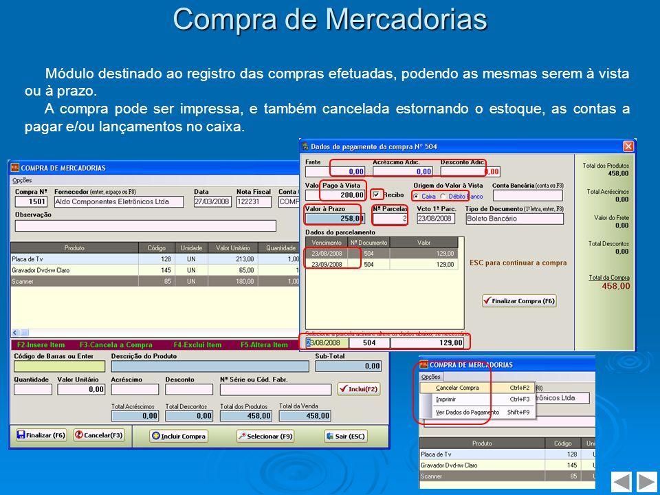 Compra de Mercadorias Módulo destinado ao registro das compras efetuadas, podendo as mesmas serem à vista ou à prazo.