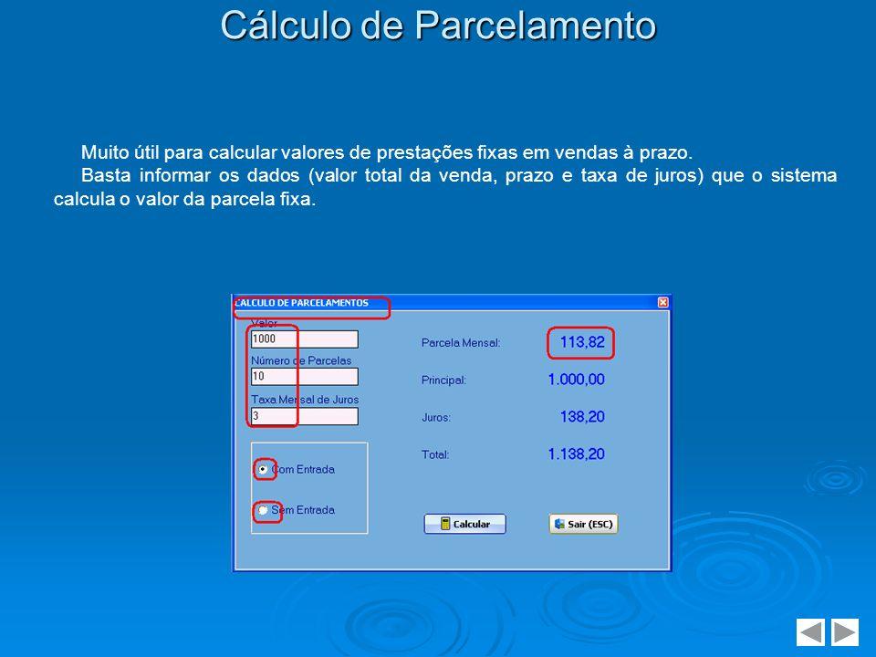 Cálculo de Parcelamento