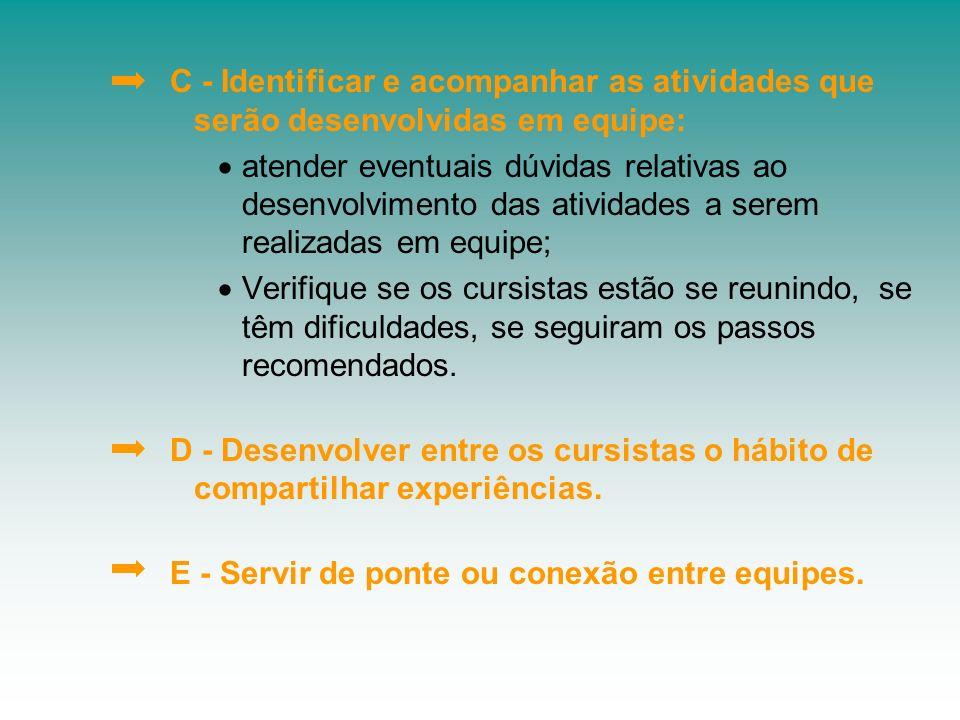 C - Identificar e acompanhar as atividades que serão desenvolvidas em equipe: