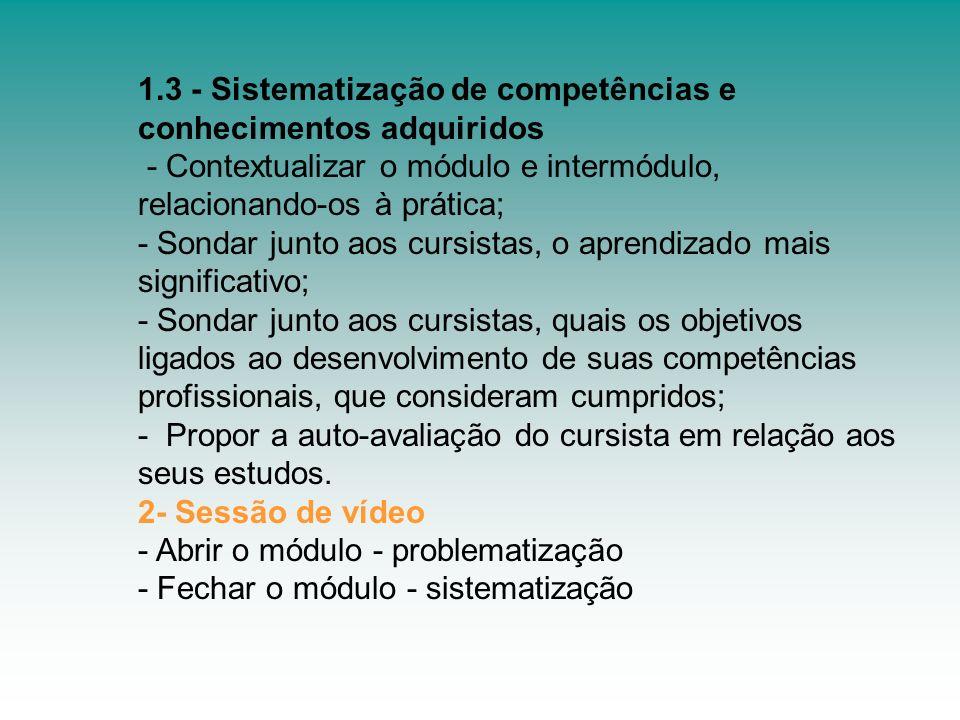 1.3 - Sistematização de competências e conhecimentos adquiridos