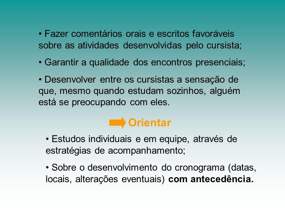 Fazer comentários orais e escritos favoráveis sobre as atividades desenvolvidas pelo cursista;