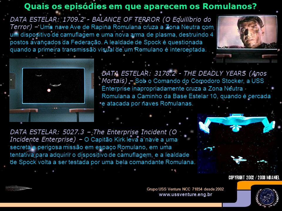 Quais os episódios em que aparecem os Romulanos