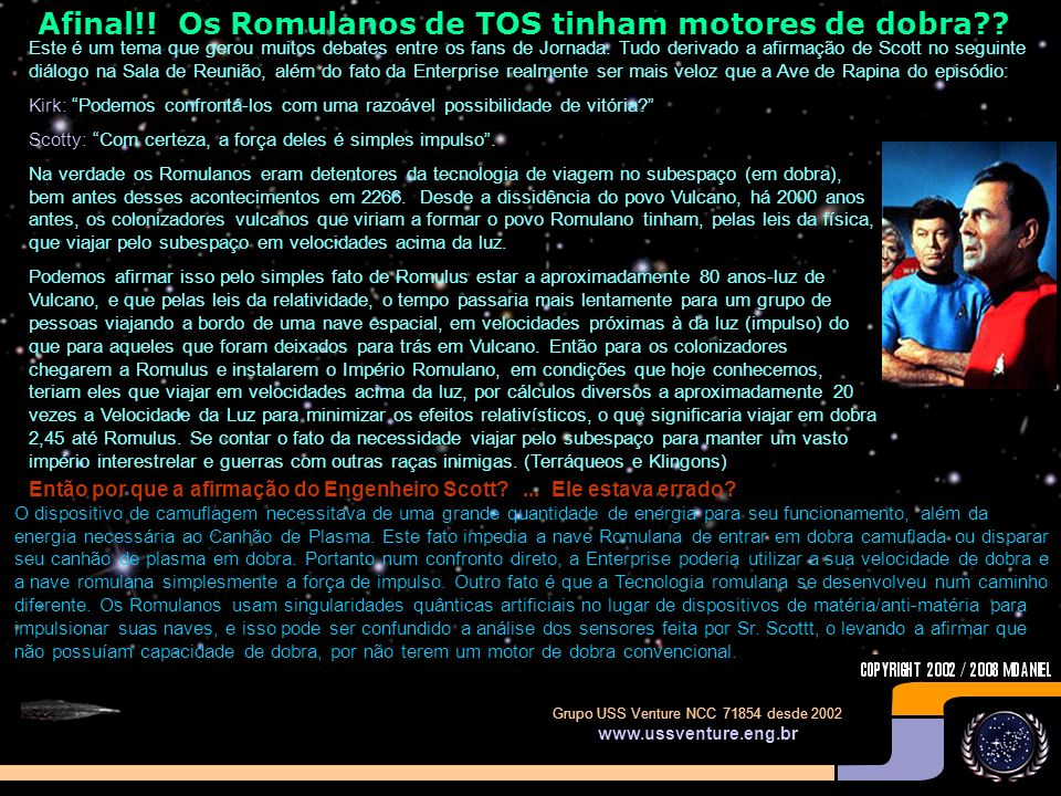 Afinal!! Os Romulanos de TOS tinham motores de dobra