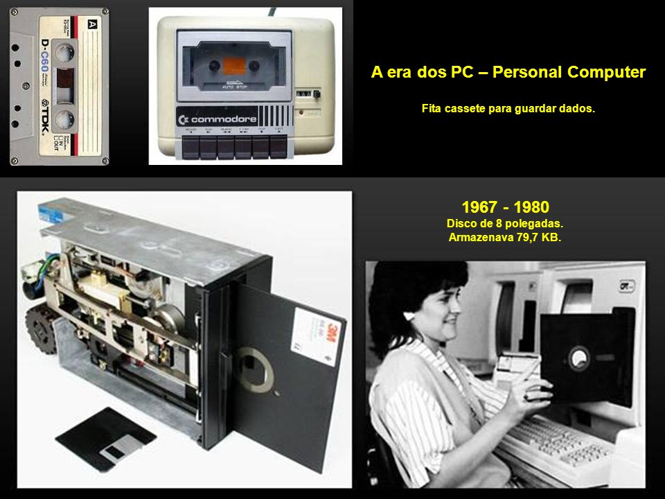 A era dos PC – Personal Computer Fita cassete para guardar dados.