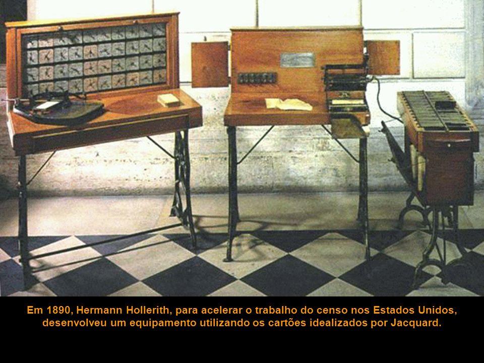 Em 1890, Hermann Hollerith, para acelerar o trabalho do censo nos Estados Unidos, desenvolveu um equipamento utilizando os cartões idealizados por Jacquard.