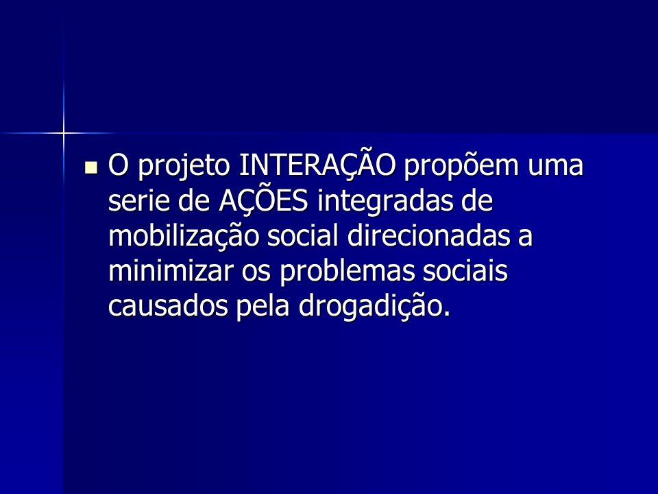 O projeto INTERAÇÃO propõem uma serie de AÇÕES integradas de mobilização social direcionadas a minimizar os problemas sociais causados pela drogadição.