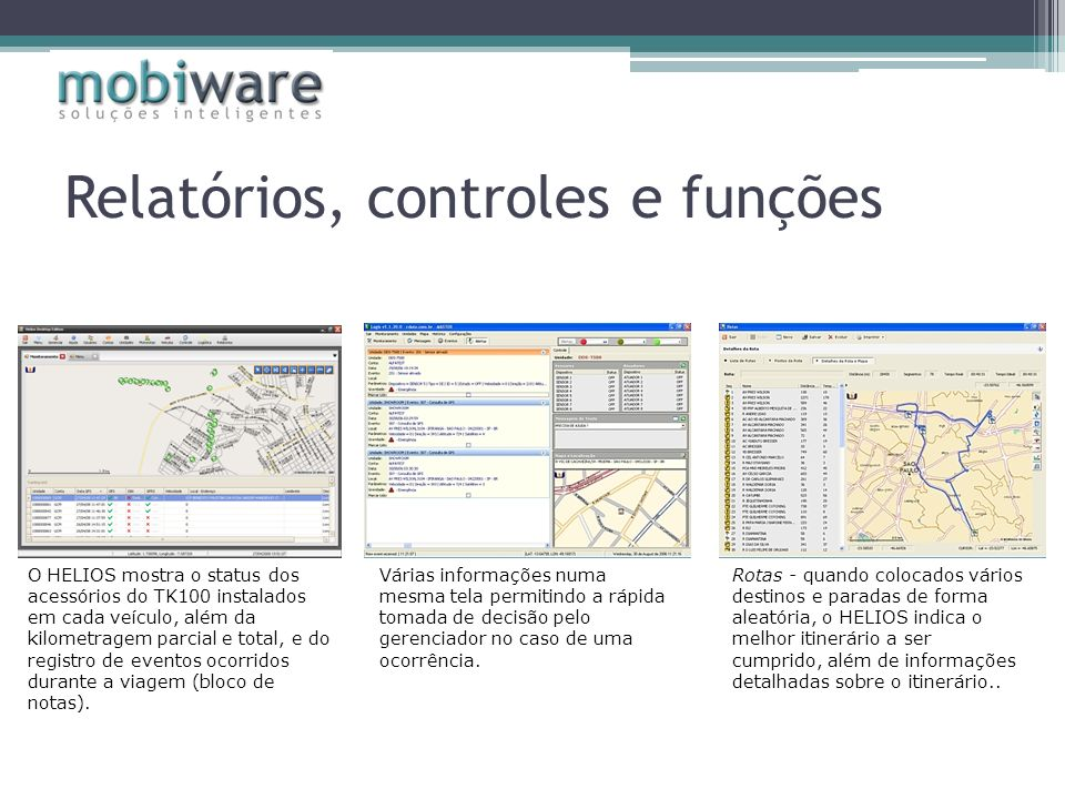 Relatórios, controles e funções