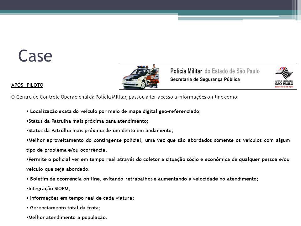 Case APÓS PILOTO. O Centro de Controle Operacional da Polícia Militar, passou a ter acesso a informações on-line como:
