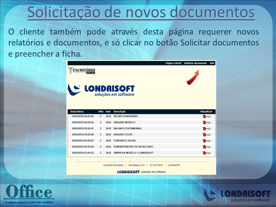 Solicitação de novos documentos