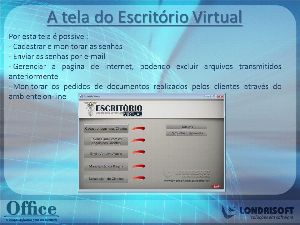 A tela do Escritório Virtual