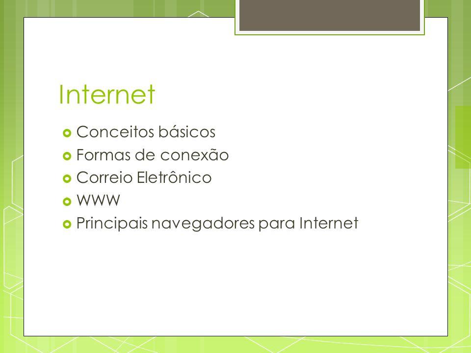 Internet Conceitos básicos Formas de conexão Correio Eletrônico WWW