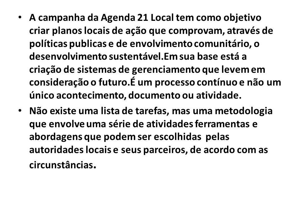 A campanha da Agenda 21 Local tem como objetivo criar planos locais de ação que comprovam, através de políticas publicas e de envolvimento comunitário, o desenvolvimento sustentável.Em sua base está a criação de sistemas de gerenciamento que levem em consideração o futuro.É um processo contínuo e não um único acontecimento, documento ou atividade.