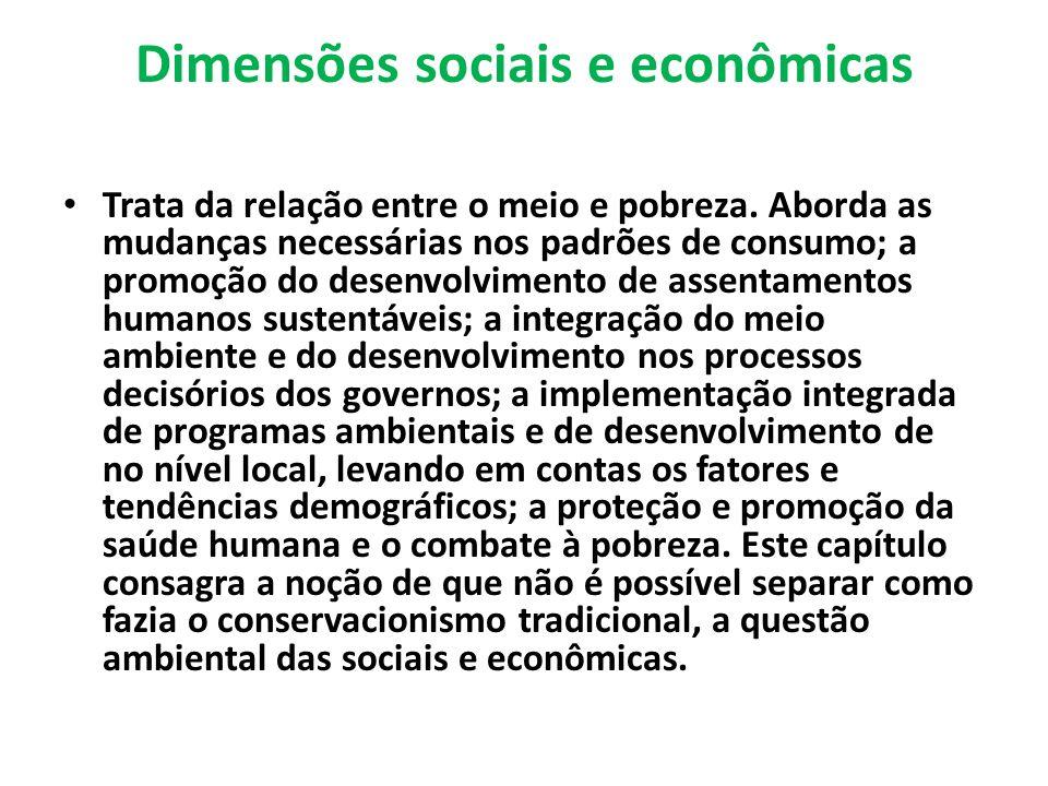 Dimensões sociais e econômicas