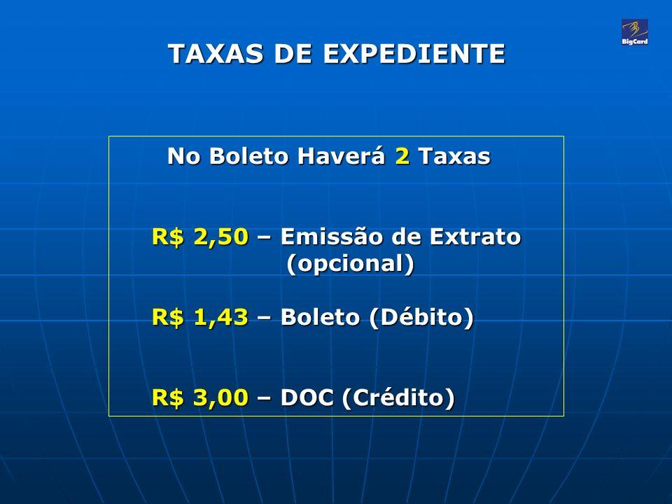 TAXAS DE EXPEDIENTE No Boleto Haverá 2 Taxas