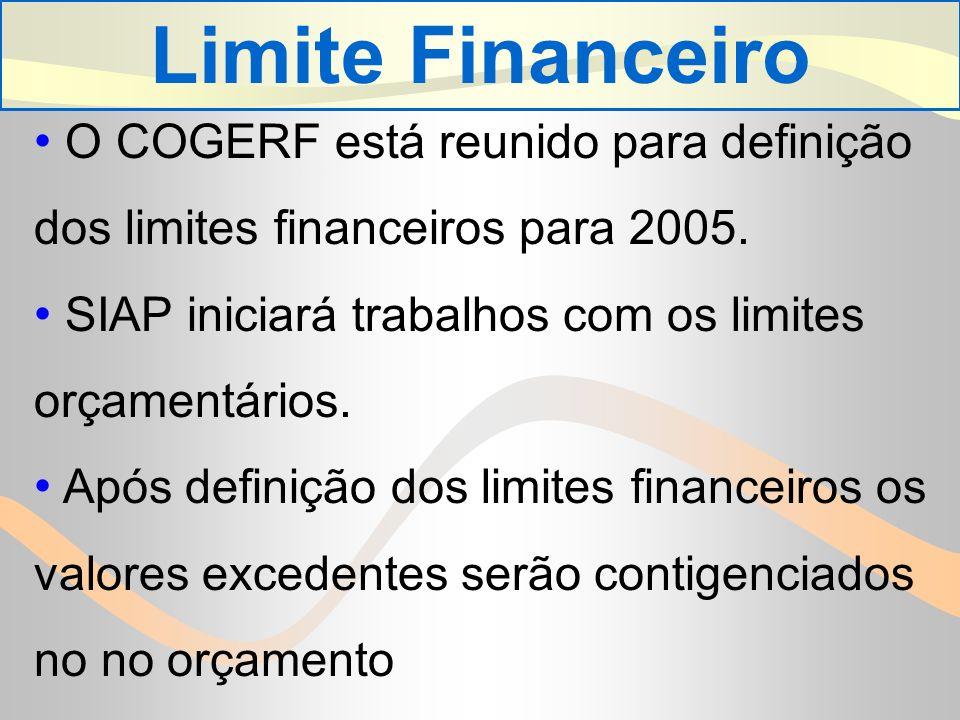 Limite Financeiro O COGERF está reunido para definição dos limites financeiros para 2005. SIAP iniciará trabalhos com os limites orçamentários.