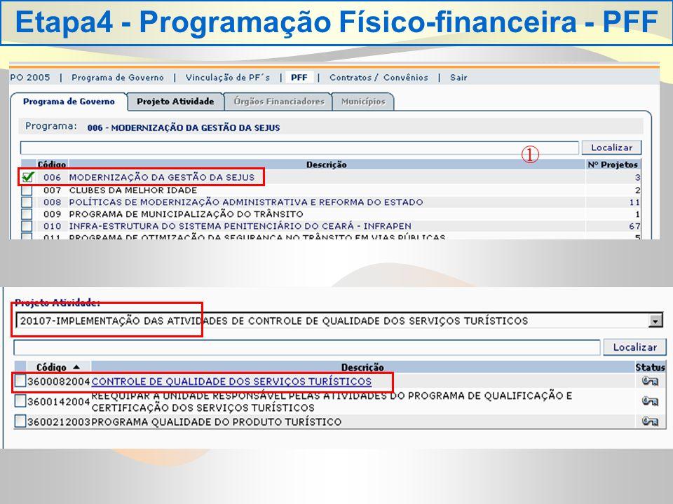 Etapa4 - Programação Físico-financeira - PFF