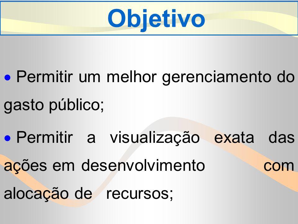 Objetivo Permitir um melhor gerenciamento do gasto público;