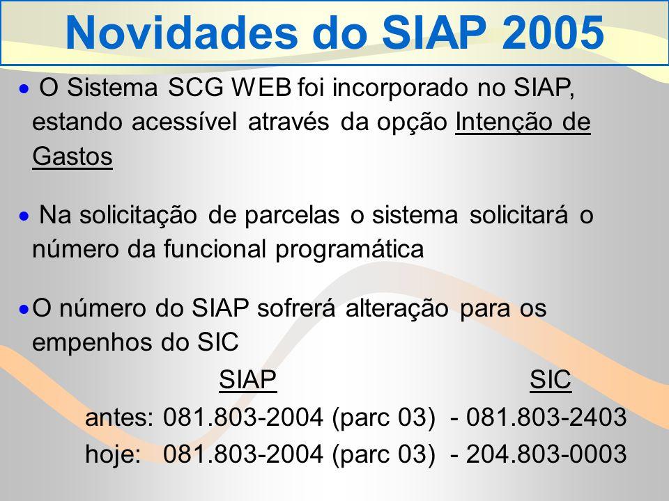 Novidades do SIAP 2005 O Sistema SCG WEB foi incorporado no SIAP, estando acessível através da opção Intenção de Gastos.