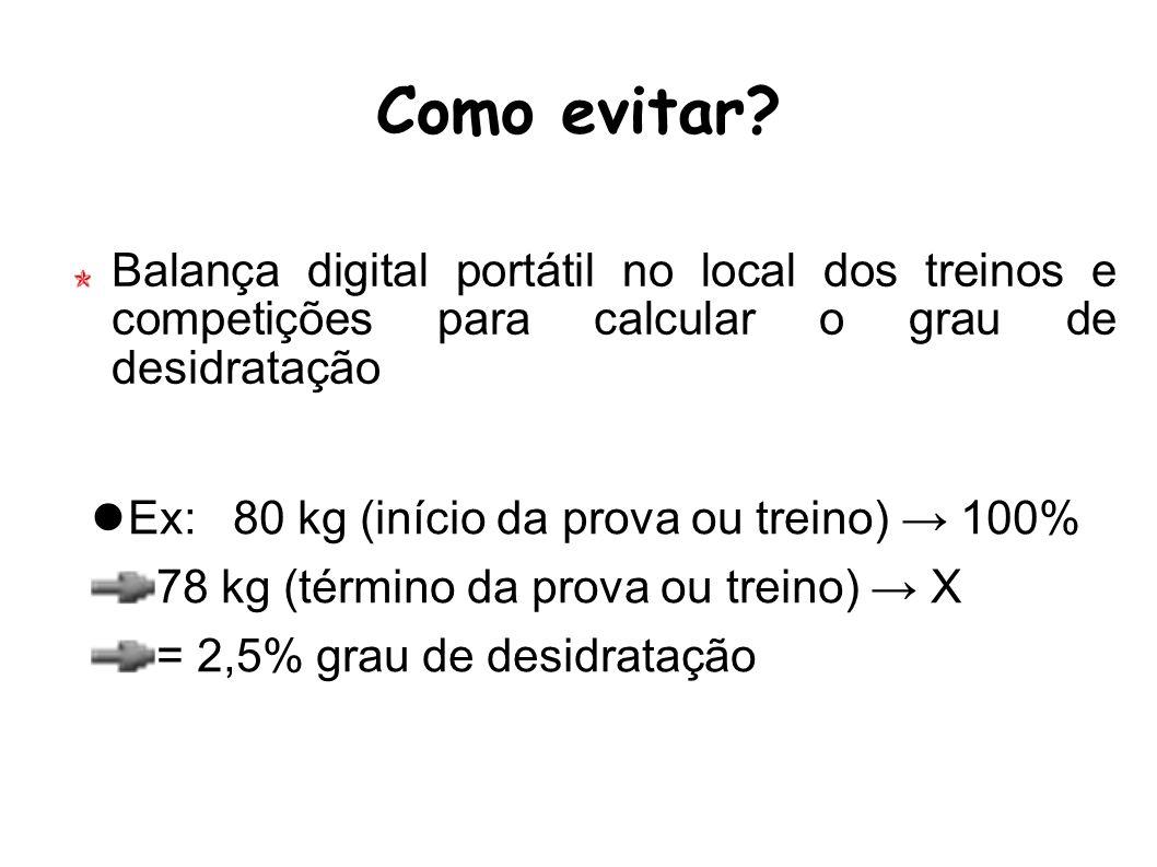 Como evitar Balança digital portátil no local dos treinos e competições para calcular o grau de desidratação.