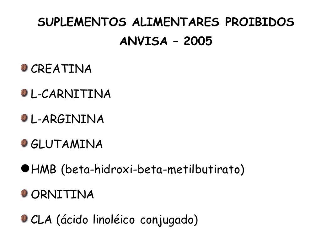 SUPLEMENTOS ALIMENTARES PROIBIDOS ANVISA – 2005