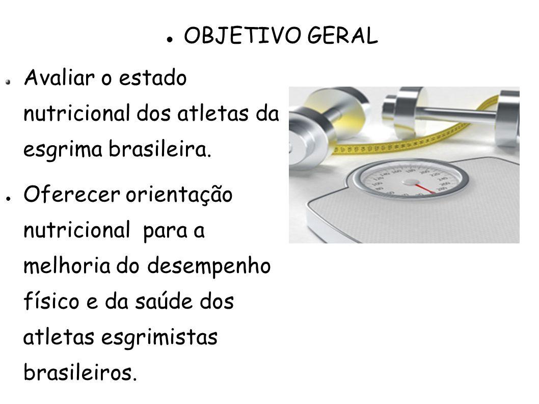 OBJETIVO GERAL Avaliar o estado nutricional dos atletas da esgrima brasileira.